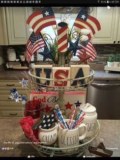 July Tiered Tray decoration ideas to glam up your home in Patriotic Spirit - Hike n Dip Fourth Of July Decor, 4th Of July Celebration, 4th Of July Decorations, 4th Of July Party, July 4th, 4th Of July Wreath, Table Decorations, Centerpieces, Memorial Day Decorations