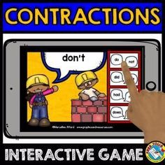 CONSTRUCTING CONTRACTIONS GAME 1 (CONSTRUCTION THEME GRAMMAR DIGITAL TASK CARDS) A fun construction theme contractions game where children read each contraction and click the button with the two words that make up that contraction. Perfect to practice Grammar Games, Grammar Activities, Word Work Activities, Learning Activities, Punctuation Games, Teaching Resources, Teaching Grammar, Teaching Ideas, Spelling Words List