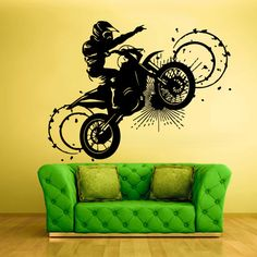 Wall Vinyl Sticker Decals Decor Art Bedroom Design Mural Tribal Dirt Bike Moto Motorcycle (z323)