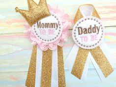 Mommy to be corsage Daddy to be corsage Pink by Fitzthumboutique