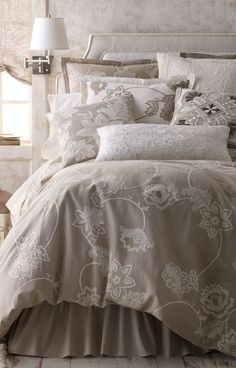 Shop luxury bedding sets and bedding collections at Horchow. Browse our incredible selection of full, queen, and king size luxury bedding sets. Master Bedroom Design, Bedroom Bed, Dream Bedroom, Bedroom Decor, Bedroom Designs, Bedroom Ideas, Wall Decor, Master Suite, Linen Bedding