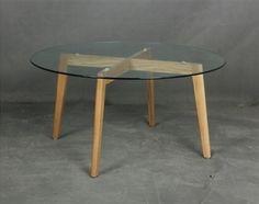Mesa circular con tapa de cristal y armazón de madera, 90 cms - NAIROBI-90