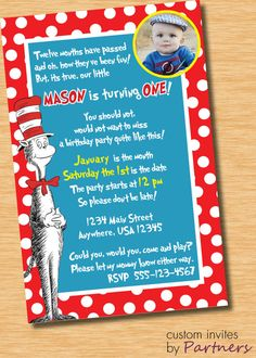 Cat in the Hat Custom Birthday Invitation by PartnersInvites, $12.00