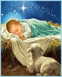 [Christmas: baby Jesus and lamb] And this shall be a sign unto you; Ye shall find the babe wrapped in swaddling clothes, lying in a manger. Christmas Pictures, Christmas Themes, Nativity Painting, Bible Doodling, The Birth Of Christ, True Meaning Of Christmas, Christmas Nativity Scene, Maria Jose, Jesus Pictures