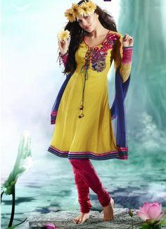 Angelic Yellow With Blue Designer Casual Wear Anarkali  Dress http://www.angelnx.com/Salwar-Kameez#/sort=p.date_added/order=DESC/limit=32/page=29