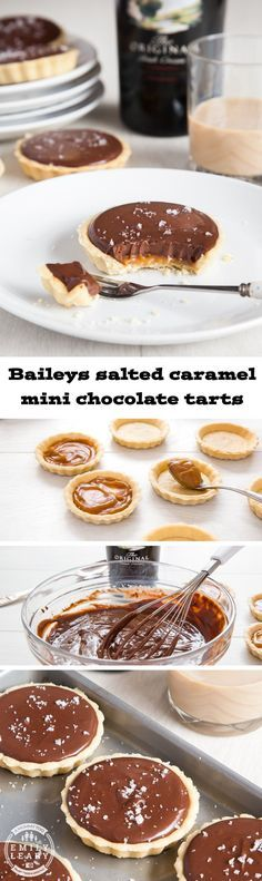 These Baileys salted caramel mini chocolate tarts are stunningly delicious. Sweet shortcrust pastry, a layer of salted caramel, topped with creamy Baileys and chocolate ganache, and finished with a sprinkle of sea salt to bring out the flavour.