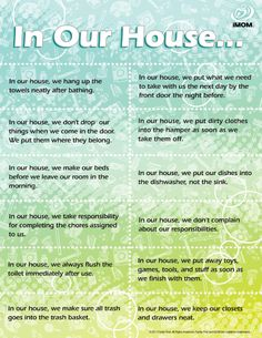 "BEST SITE EVER for free printables! FREE Printable In Our House Rules : are your family's ""home habits"" helping you or hurting you when it comes to keeping your house clean? This website has TONS of great tips! Rules For Kids, Chores For Kids, Good Habits For Kids, Family Rules, Family Life, Parenting Advice, Kids And Parenting, Parenting Classes, Family Meeting"