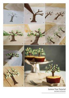 Chocolate Lemon Tree cupcake topper Tutorial