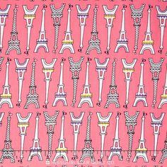 Oui Oui Paris - Sweet Pink Eiffel Tower by Suzy Ultman from Robert Kaufman Paris Cat, French Fabric, Sewing Appliques, Missouri Star Quilt, Robert Kaufman, Oui Oui, Cotton Lights, Suzy, Cotton Fabric
