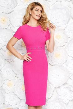 e31ae8f7a41a StarShinerS fuchsia office midi pencil dress from non elastic fabric with  metal accessories, metal accessories