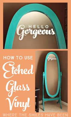 Full tutorial detailing how to use etched glass vinyl. It's a great non-permament (and less messy) alternative to using etching cream or sand blasting! Etched Glass Vinyl, Etched Mirror, Diy Mirror, Silhouette Curio, Silhouette Machine, Silhouette Cameo Projects, Silhouette Vinyl, Silhouette America, Silhouette Files