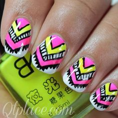 Beautiful Aztec Nails w/neon pink & yellow & black & white paint!