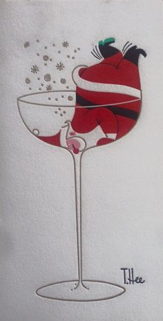 Vintage Christmas card by artist, T. Hee featuring Santa in a cocktail glass