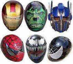 Ironman Hulk Transformers Spiderman Motorcycle Helmets - Ok I gotta admit that these are freaking cool Novelty Motorcycle Helmets, Motorcycle Gear, Bike Helmets, Motorcycle Accessories, Ducati, Motocross, Honda Motorbikes, Graffiti, Custom Helmets