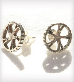 Bicycle Gear Earrings - Silver by Green Goat Designs  on Scoutmob