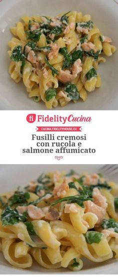 salmon recipes Fusilli cremosi con rucola e salmone affumicato Salmon Recipe Cast Iron, Salmon Recipe Pan, Seared Salmon Recipes, Salmon Patties Recipe, Healthy Salmon Recipes, Seafood Recipes, Pasta Recipes, Cooking Recipes, Clean Eating Salmon