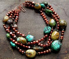 Bead Lover's Torsade - No30/Natural Turquoise, FWPeals, Copper | miabellacollection-jewelry - Jewelry on ArtFire