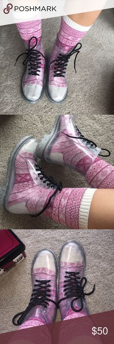 Circus by Sam Edelman clear boots. Size 7 New in box. It feels same from wearing other boots. Not hard or harsh on skin. Really cute. Style in so many ways with fun socks all four seasons. Medium width. No trade. Circus by Sam Edelman Shoes Ankle Boots & Booties