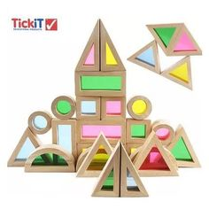 Agirlgle Wood Building Blocks Set for Kids 24 Pcs Rainbow Stacker Stacking Game Construction Building Toys Set Preschool Colorful Learning Educational Toys - Geometry Wooden Blocks for Boys & Girls in Stacking Blocks. Wooden Blocks Toys, Wooden Building Blocks, Wooden Baby Toys, Wooden Puzzles, Wood Toys, Building Toys, Wood Blocks, Educational Toys For Kids, Kids Toys