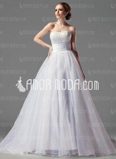De baile Sem alça Cauda capela Organza Cetim Vestidos de noiva com Pregueado Renda (002004149) - AmorModa