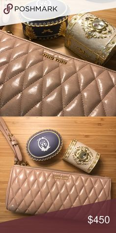 2766a49e7863 Shop Women s Miu Miu Cream Pink size OS Clutches   Wristlets at a  discounted price at Poshmark. new. Kept nicely in Miu Miu dust bag.