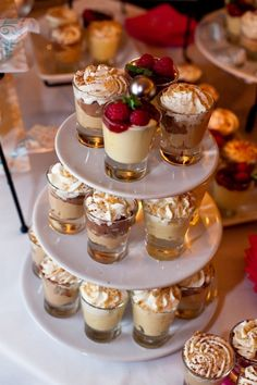 Cake Shooters! Just because you didn't want a gigantic cake at your wedding doesn't mean you can't have a couple dozen bite-sized tasters. Opt for an array of flavours to please every palate.