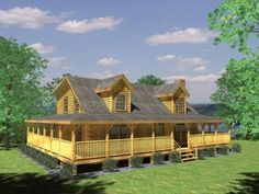 Westfield Log Home Plan by Honest Abe Log Homes, Inc. - Westfield Log Home Plan by Honest Abe Log Homes, Inc. features a garage, loft and open great room.