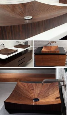 Combining German hand-crafting expertise and curved ship hull construction methods, this patterned wooden tub shoots both to satisfy the eye and to soothe any aching back. The company that makes these is Alegna. Truly amazing, Gotta love The Germans! Bathroom Sink Design, Wood Bathroom, Bathroom Sinks, Bathroom Cabinets, Wood Furniture, Modern Furniture, Furniture Design, Wooden Bathtub, Wood Sink