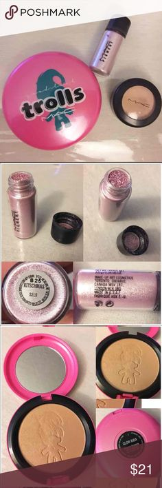 """MAC EYE PIGMENT, TROLLS POWDER, & CONCEALER MAC LITTLE MAC EYE PIGMENT in Shade """"Kitschmas"""" - Size: 2.5g / 0.09oz Travel Size - Condition is Like New - Approx 98% of product left MAC LIMITED EDITION GOOD LUCK TROLLS BEAUTY POWDER in Shade """"Glow Rida"""" - Size: 0.35oz Full Size - Condition is Very Good - Approx 85-90% of product left  MAC STUDIO FINISH SPF 35 CONCEALER in Shade NW25 - Size: 7g / 0.24oz Full Size - Condition is Good - Approx 70% of product left MAC Cosmetics Makeup"""