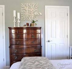 Look at this amazing bedroom furniture colors - what an inventive style #bedroomfurniturecolors Dark Wood Dresser, Dark Wood Bedroom Furniture, Tall Dresser, Dressers, Kitchen Furniture, Pretty Bedroom, Headboards For Beds, Awesome Bedrooms, Benjamin Moore