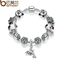 BAMOER High Quality Strand Bracelet  Classical Silver Plated Bracelets with White Heart Bead DIY Bracelet Accessories PA1880