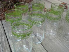 8 Vintage Corelle Green Crazy Daisy Spring Blossom Glasses Tumblers 12 Oz   eBay