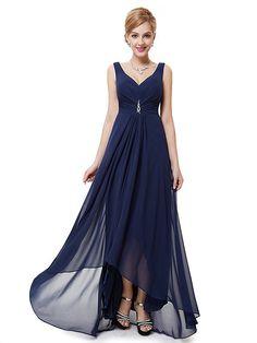 Double V-Neck Rhinestones Ruched Bust Hi-Lo Evening Dress