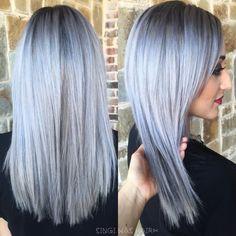 silver grey titanium hair