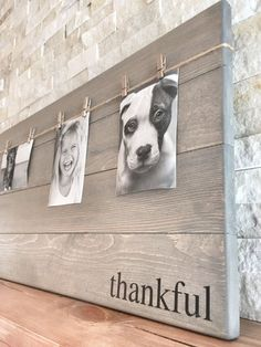 This unique picture frame can easily become the focal point in any room with the word thankful, grateful or blessed! Such a beautiful and rustic way to display you and your loved ones memorable photos and it makes switching out pictures a breeze! These wood photo frames would make a great gift! This listing is for one photo wood board with the word of: thankful, grateful or blessed Measurements: photo wood board has eight clothespins hanging from twine and is L: 30 x W: 14 This photo boar...
