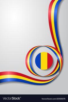 Romanian flag wavy background vector image on VectorStock