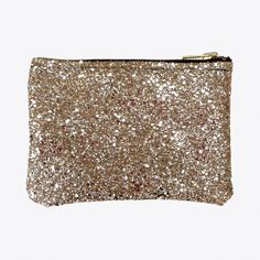 Glitter Zip Pouch Pale Gold Large ($39) ❤ liked on Polyvore featuring bags, handbags, clutches, clutch bag, gold clutches, glitter purse, gold purse, zipper purse and glitter handbags