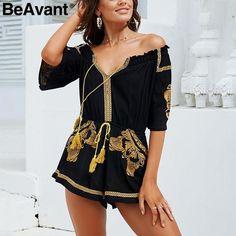 dde90f5809 BeAvant Ethnic embroidery black jumpsuit rompers Women v neck tassel boho playsuit  Summer beach casual overalls