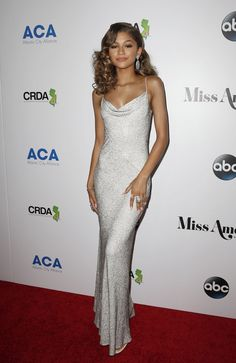 Zendaya Coleman Miss America 2016 Sequin Dress With Spaghetti Straps