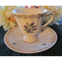 Thistle Teacup and Saucer