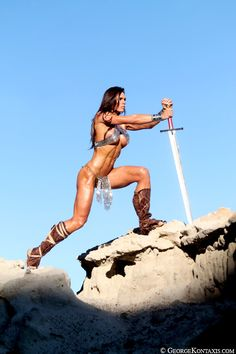 Women Warrior. Love the strength she exudes, but she's gonna get a helluva lot of UNNECESSARY scrapes & cuts on all of that open skin... just sayin'