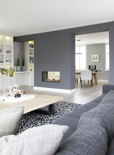 Love this gorgeous open plan living/kitchen room area! Grey is our favourite colour for interior design and it just creates such a warming atmosphere! Home Living Room, Living Room Decor, Living Spaces, Living Room And Kitchen Together, Feature Wall Living Room, Dining Room, Sweet Home, Deco Design, Open Plan Living