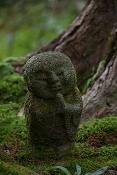 Little Jizo statue at Ohara Sanzenin Temple in Kyoto...