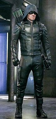 Stephen Amell as Green Arrow, in the fifth season of the television series Arrow, in a new costume reflecting his outfit in the first three seasons.