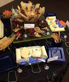 Fruit & cheese display featuring artisanal cheeses from around the world