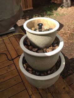 DIY garden fountain DIY Plant Pots to Water Fountain
