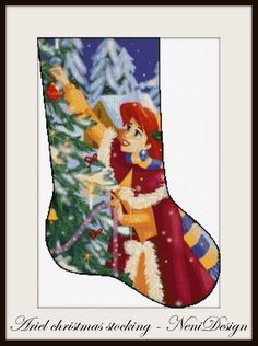 Check out our cross stitch pattern selection for the very best in unique or custom, handmade pieces from our shops. Cross Stitch Christmas Stockings, Cross Stitch Stocking, Christmas Stocking Pattern, Christmas Cross, Disney Cross Stitch Patterns, Counted Cross Stitch Patterns, Frozen Cross Stitch, Disney Stockings, Frozen Pattern