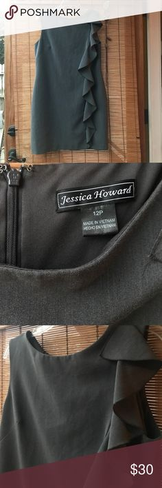 """Jessica Howard gray dress ruffle classic sheath Simple classic gray sheath dress with ruffle on one side. In great condition! Fully lined. 35"""" long. Jessica Howard Dresses"""