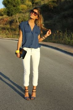 Stylist, I love everything about this outfit, except for the short sleeves on the blouse. I could definitely pull this off as a summer business casual outfit!