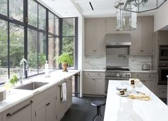 gray kitchen design idea 20 - love the widows/ can be opened